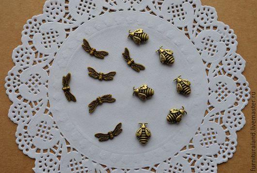 """Для украшений ручной работы. Ярмарка Мастеров - ручная работа. Купить Бусины - спейсеры """"Пчелы"""", """"Стрекозы"""".. Handmade. Бусины, спейсер"""