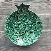 Посуда ручной работы. Ярмарка Мастеров - ручная работа Керамическая тарелка-гранат цвета морской волны. Handmade.