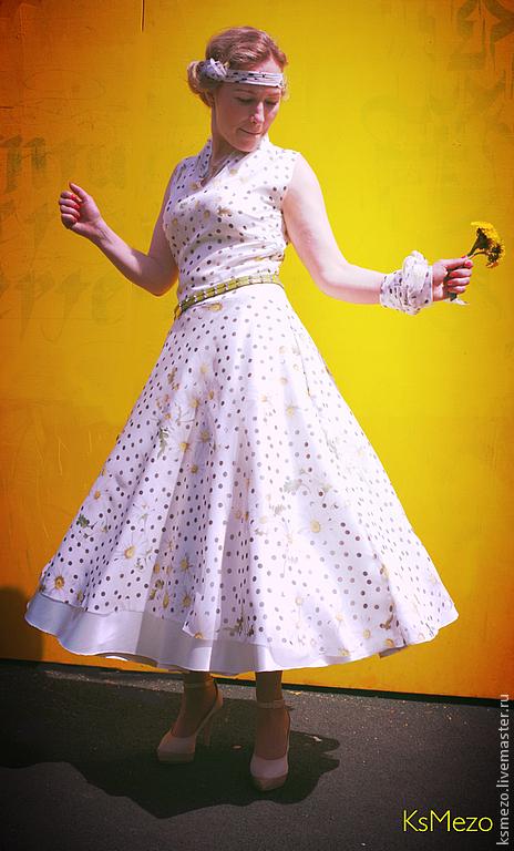 """Платья ручной работы. Ярмарка Мастеров - ручная работа. Купить Платье """"Ромашковое"""" из шифона на подкладке Платье двойное летнее. Handmade."""