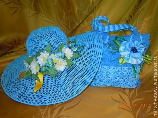 Комплекты аксессуаров ручной работы. Ярмарка Мастеров - ручная работа. Купить Шляпа и сумка Незабудка. Handmade. Голубой, брошь из цветов