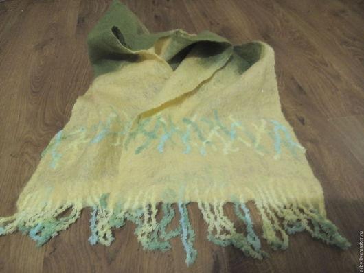 """Шарфы и шарфики ручной работы. Ярмарка Мастеров - ручная работа. Купить Шарфик """"Нежность"""". Handmade. Ярко-зелёный, Валяние, шарф"""