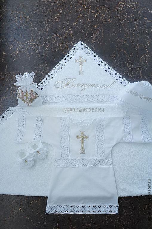 """Крестильные принадлежности ручной работы. Ярмарка Мастеров - ручная работа. Купить крестильный комплект """"ВЛАДИСЛАВ"""". Handmade. Белый, крестильное платье"""