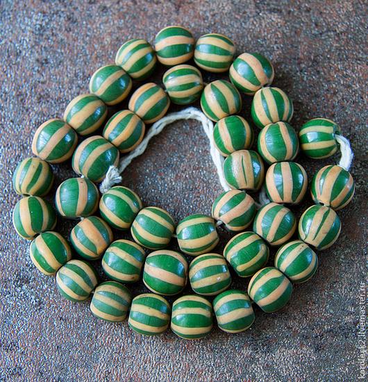 Для украшений ручной работы. Ярмарка Мастеров - ручная работа. Купить Желто-зеленые полосатые стеклянные бусины, Индонезия.. Handmade.