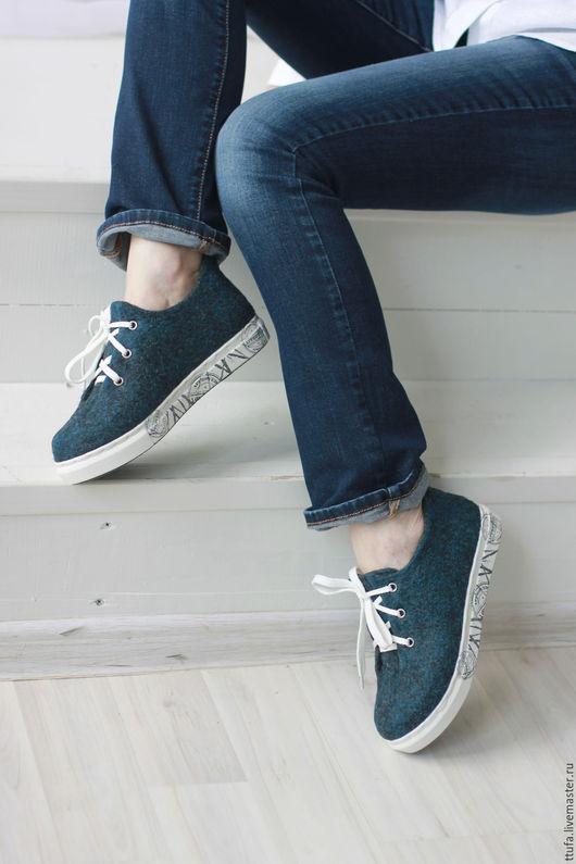 """Обувь ручной работы. Ярмарка Мастеров - ручная работа. Купить Валяные кеды """"Деним"""". Handmade. Тёмно-синий, обувь на заказ"""