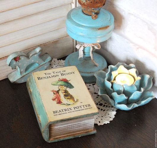 Шкатулки ручной работы. Ярмарка Мастеров - ручная работа. Купить Книжка-малышка Bunny. Handmade. Бирюзовый, кролик питер