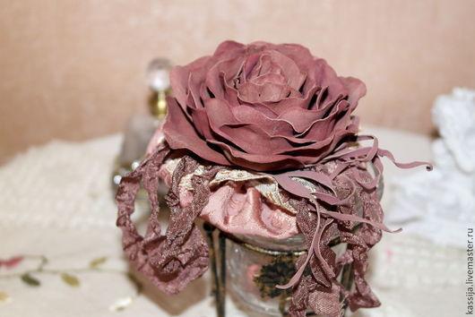 """Броши ручной работы. Ярмарка Мастеров - ручная работа. Купить Брошь""""Осенняя роза"""". Handmade. Бордовый, шебби лента"""