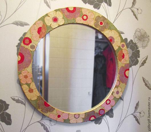Зеркала ручной работы. Ярмарка Мастеров - ручная работа. Купить Цветочное зеркало из бисера. Handmade. Зеркало настенное, ручная работа
