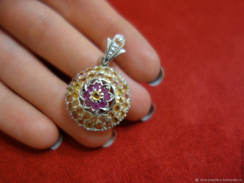 CHIESA-a charming pendant with rubies and yellow sapphires, Pendants, Pyatigorsk,  Фото №1