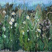 Картины и панно handmade. Livemaster - original item Textile panels of Chamomile and grass. Handmade.