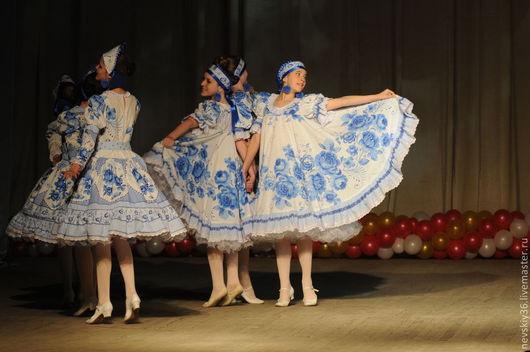 Танцевальные костюмы ручной работы. Ярмарка Мастеров - ручная работа. Купить Гжель О6. Handmade. Голубой, хоровод, хб ткань