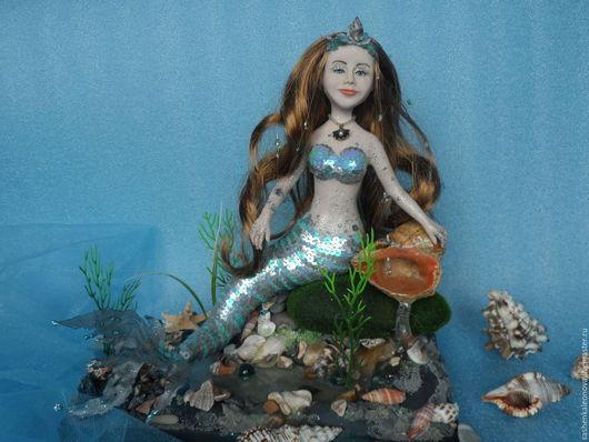Коллекционные куклы ручной работы. Ярмарка Мастеров - ручная работа. Купить Кукла из полимерного пластика Русалка. Handmade. Голубой