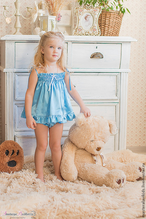 """Одежда для девочек, ручной работы. Ярмарка Мастеров - ручная работа. Купить """"Ариша"""". Комплект детского белья. Handmade. Голубой, трусики"""