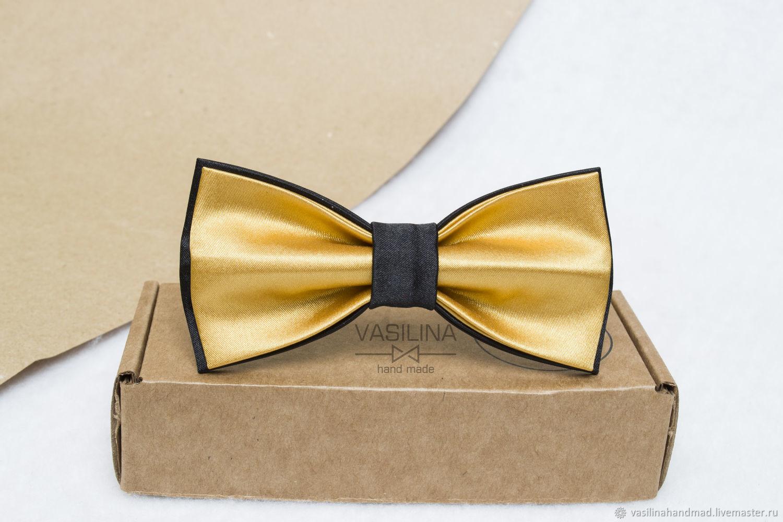 Атласный золотой галстук-бабочка, Галстуки, Ростов-на-Дону,  Фото №1