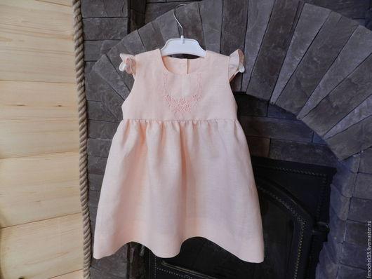 Одежда для девочек, ручной работы. Ярмарка Мастеров - ручная работа. Купить Платье льняное с вышивкой. Handmade. Бледно-розовый, леночек18