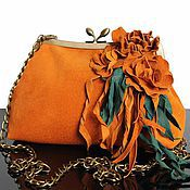 Сумки и аксессуары handmade. Livemaster - original item Art handbag, suede handbag, clutch, purse, suede, orange. Handmade.