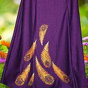"""Одежда ручной работы. Ярмарка Мастеров - ручная работа миди юбка на осень на осень """"Перо павлина"""". Handmade."""