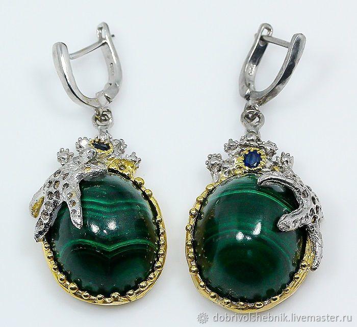 Earrings 'Whirlpools' with malachite and sapphire, Earrings, Novaya Usman,  Фото №1
