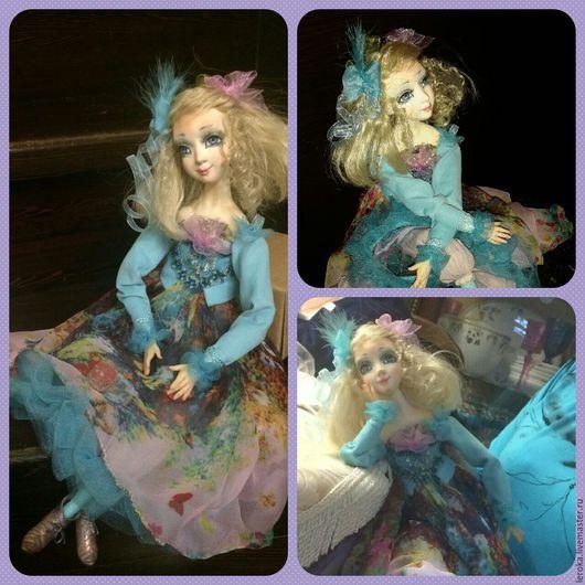 """Коллекционные куклы ручной работы. Ярмарка Мастеров - ручная работа. Купить Будуарная кукла """"Вельвета"""". Handmade. Бирюзовый, бантик"""