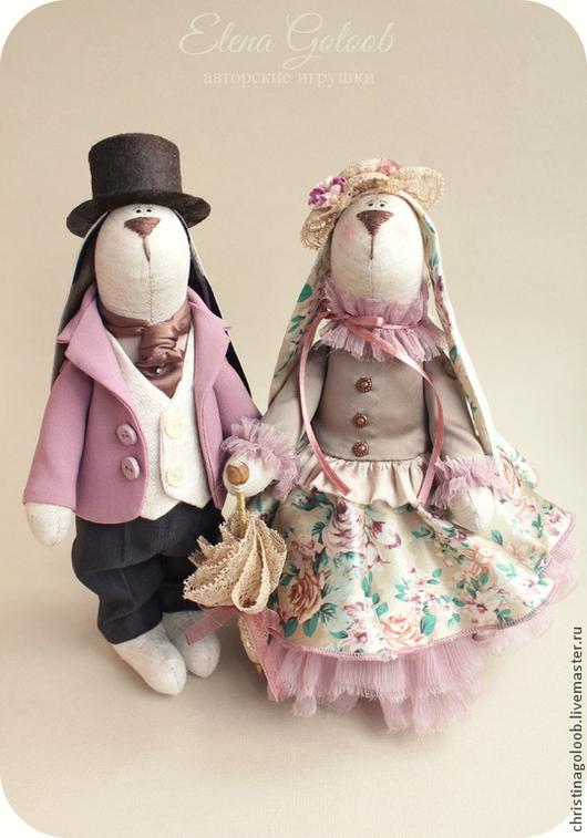 Куклы Тильды ручной работы. Ярмарка Мастеров - ручная работа. Купить Пара зайчиков Леди и Джентельмен. Handmade. Бледно-розовый