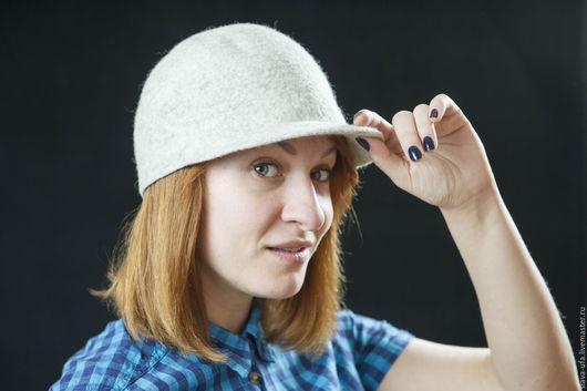 Шляпы ручной работы. Ярмарка Мастеров - ручная работа. Купить Жокейка Бежевый меланж. Handmade. Бежевый, ежевика, Шляпа валяная