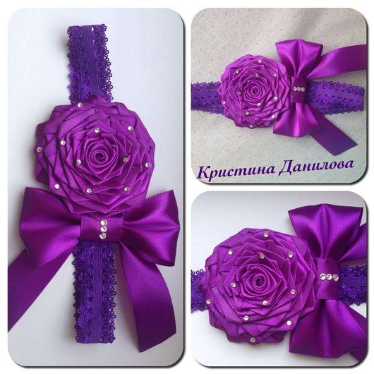 """Детская бижутерия ручной работы. Ярмарка Мастеров - ручная работа. Купить Повязка на голову """" Фиолетовая роза"""". Handmade."""