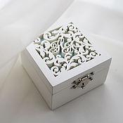Свадебный салон handmade. Livemaster - original item Wooden box for wedding rings (box with initials). Handmade.