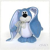 Куклы и игрушки ручной работы. Ярмарка Мастеров - ручная работа Небесно-голубой заяц - мягкая игрушка из флиса. Handmade.