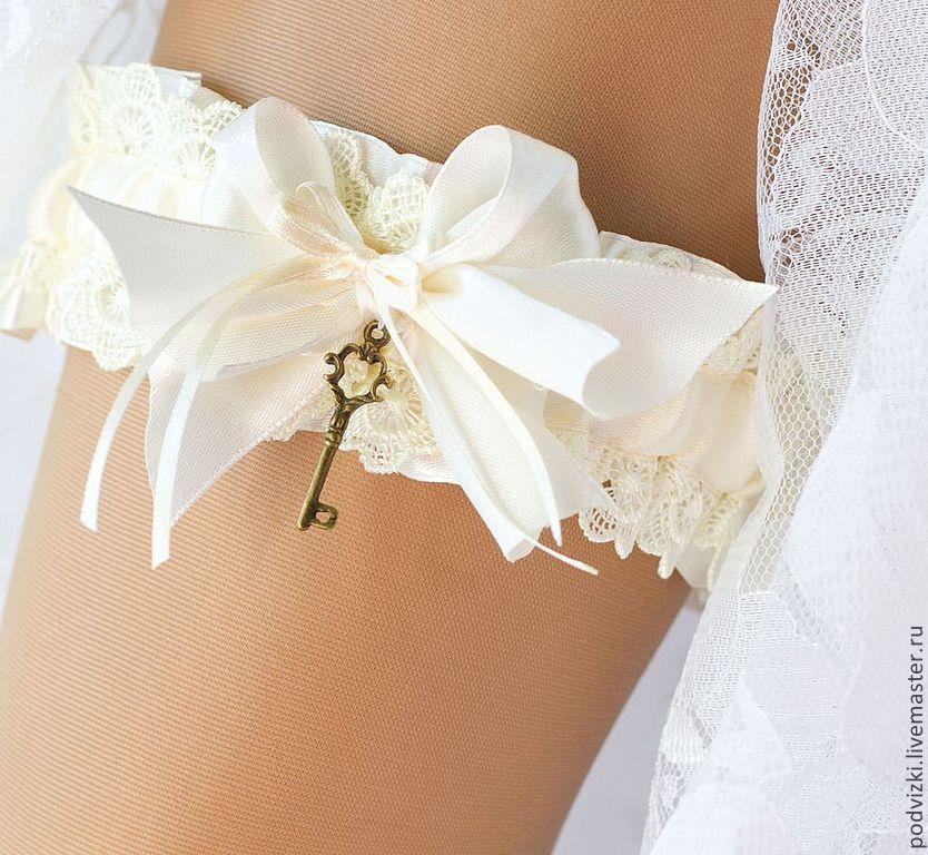 """Купить Подвязка для невесты свадебная """"Винтажная"""" - подвязка, подвязка для чулок, подвязка на ногу, подвязка кружевная"""
