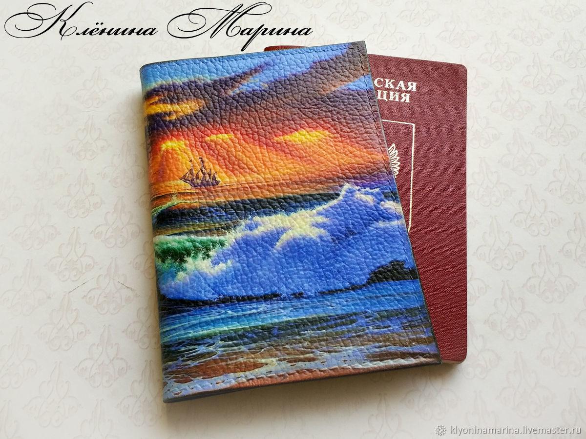 Обложка для паспорта в подарочной коробке, обложка на паспорт, обложка на загранпаспорт, обложка на автодокументы, обложка из кожи, обложка декупаж, подарок на Новый год, морская тема, Клёнина Марина