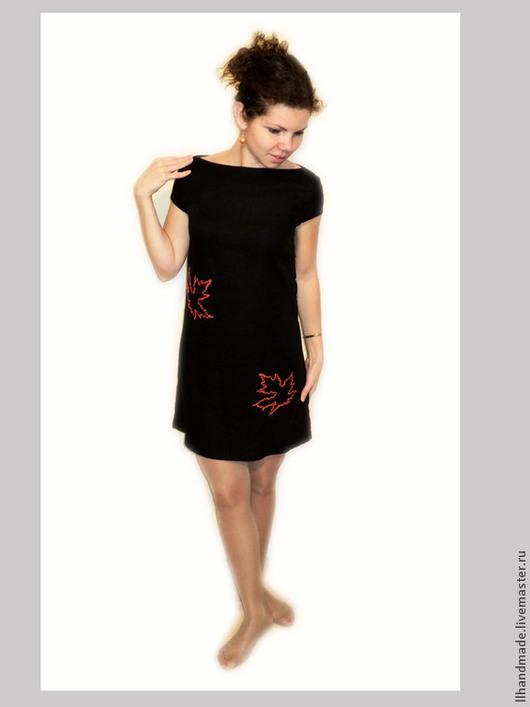 """Платья ручной работы. Ярмарка Мастеров - ручная работа. Купить Платье """"Сентябрь"""" - ручная вышивка, натуральный лён. Handmade. Черный"""