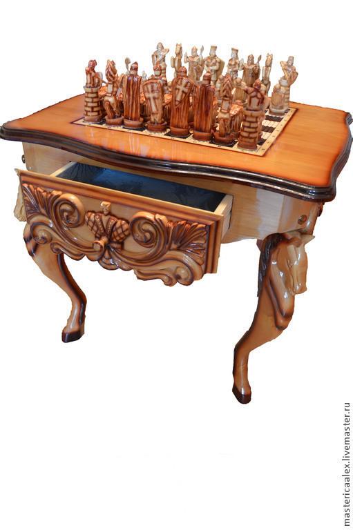 Мебель ручной работы. Ярмарка Мастеров - ручная работа. Купить Шахматный стол ручной работы. Handmade. Коричневый