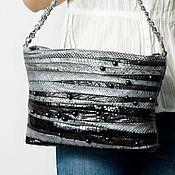 Сумки и аксессуары handmade. Livemaster - original item Crossbody bag with chain, genuine leather water snake Black pearl. Handmade.