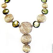 "Necklace handmade. Livemaster - original item Колье, ожерелье, бусы: ""Папоротник"", натуральный перламутр, позолота. Handmade."