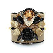 Украшения ручной работы. Ярмарка Мастеров - ручная работа Кожаный браслет манжет. Бежевый. Handmade.