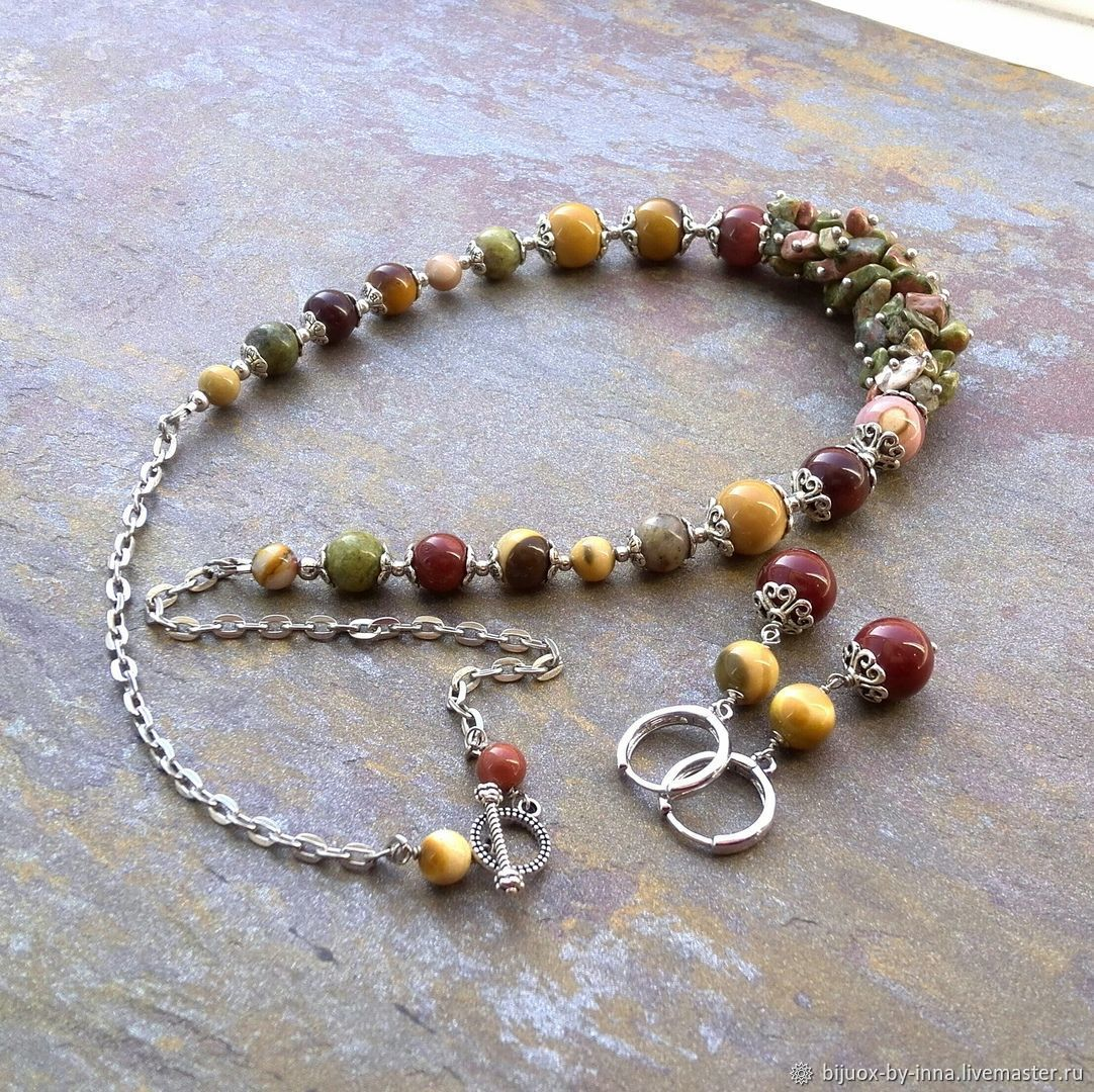 Jewelry set with of Jasper and unakite. Necklace and earrings, Jewelry Sets, Permian,  Фото №1