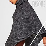 Одежда handmade. Livemaster - original item Poncho: Poncho knitted gray Alpaca