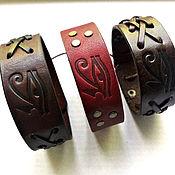 Украшения handmade. Livemaster - original item Men`s bracelet genuine leather eye of Horus eye of RA. Handmade.