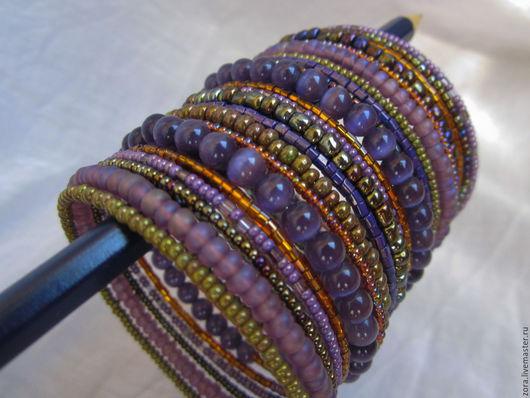 """Браслеты ручной работы. Ярмарка Мастеров - ручная работа. Купить Браслет """"Медовый"""". Handmade. Фиолетовый, браслеты, женские браслеты"""