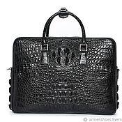 Сумки и аксессуары handmade. Livemaster - original item Bag-briefcase made of embossed crocodile skin, in black.. Handmade.