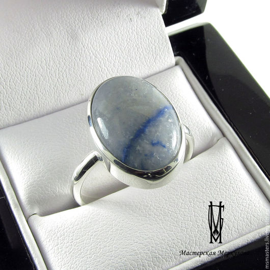 Кольца ручной работы. Ярмарка Мастеров - ручная работа. Купить Перстень с голубым кварцем. Handmade. Серебряный, голубой цвет