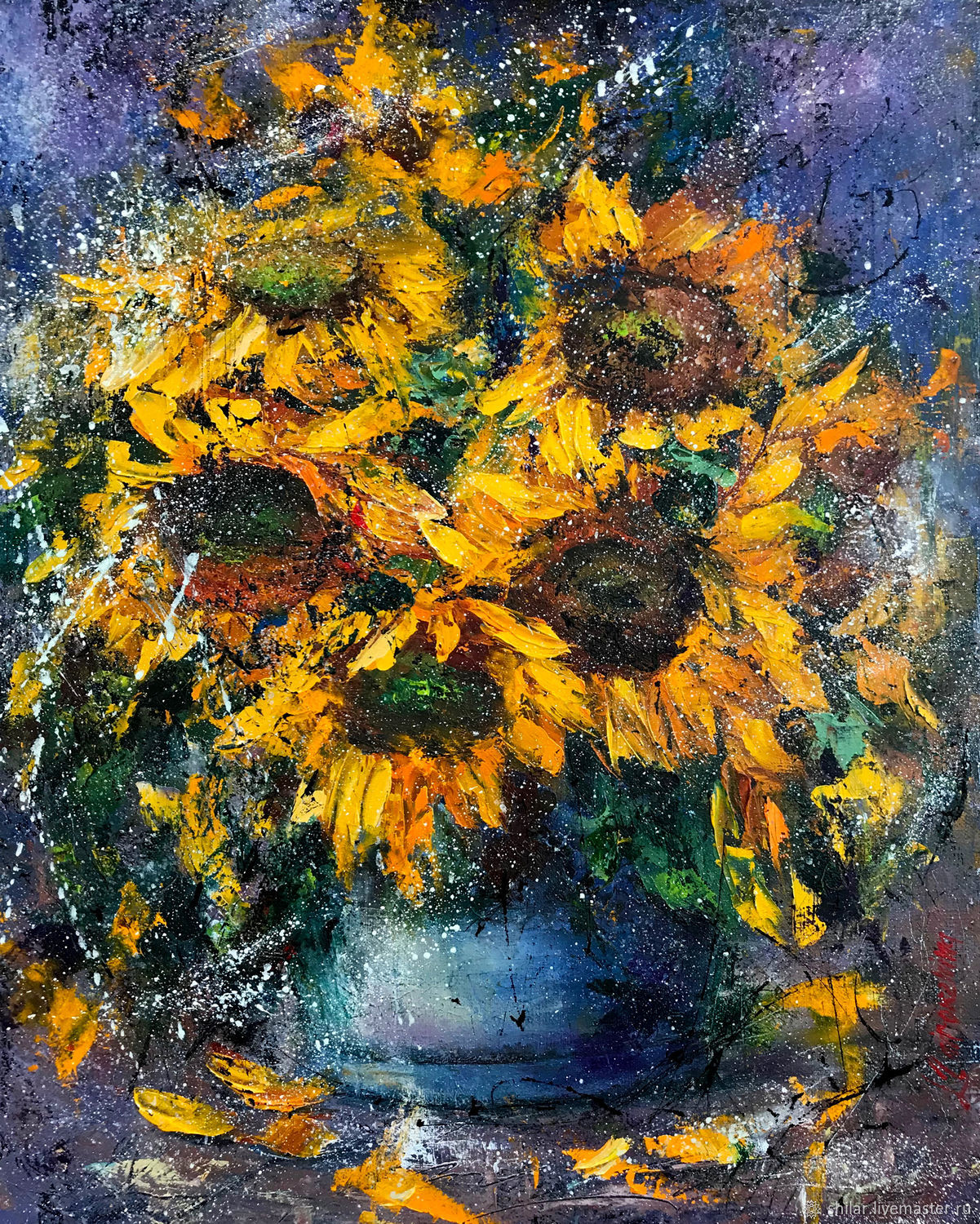 Flowers painting 'Sunflowers' oil painting, Pictures, Asha,  Фото №1