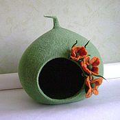 Для домашних животных, ручной работы. Ярмарка Мастеров - ручная работа Домик для кошки зеленый. Handmade.