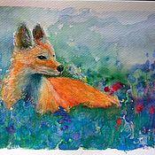 Картины и панно ручной работы. Ярмарка Мастеров - ручная работа Мини картина акварелью с рыжей лисой в цветочном поле. Handmade.