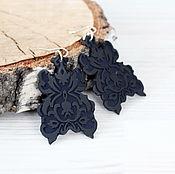 Украшения handmade. Livemaster - original item Geometric earrings - Black lace. Handmade.