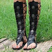 Обувь ручной работы handmade. Livemaster - original item Gladiator sandals black from the texture of the skin. Handmade.