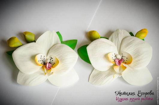 Свадебные украшения ручной работы. Ярмарка Мастеров - ручная работа. Купить заколки для волос с орхидеями. Handmade. Заколка, заколка с цветком