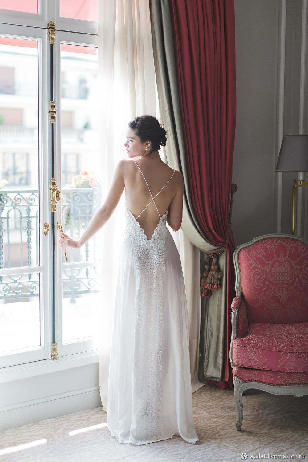 Copy of Long Silk Bridal Nightgown With Open Back and Lace F12 ...