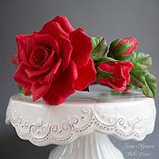 Украшения ручной работы. Ярмарка Мастеров - ручная работа Ободок из полимерной глины с алыми розами. Handmade.