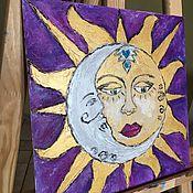 """Картины и панно ручной работы. Ярмарка Мастеров - ручная работа Картина маслом """"Солнце и Луна"""". Handmade."""