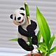"""Игрушки животные, ручной работы. Ярмарка Мастеров - ручная работа. Купить Украшение для цветочного горшка """"Веселая Панда"""". Handmade. Сувенир"""
